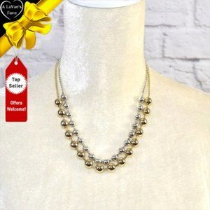 NEW Gold & Silver Heavy Bead Double Necklace